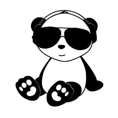 Items similar to Panda w/Headphones Vinyl Car Window Decal ...