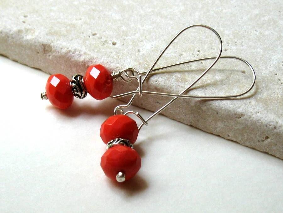 Red Beaded Dangle Earrings  / Orange Modern Dangle Earrings / Tomato / Garden Inspired / Harvest - cooljewelrydesign