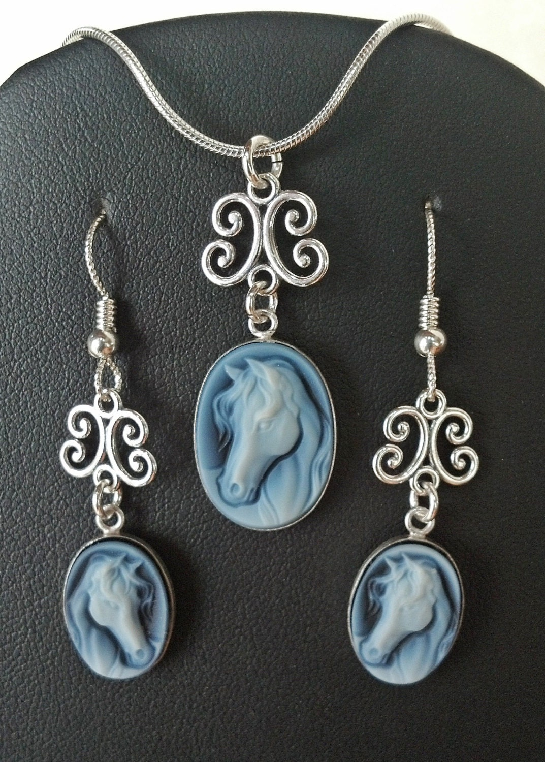 Black Agate Horse Cameo Jewelry Cameo Sterling Silver Jewelry Set - FireHorseArtJewelry