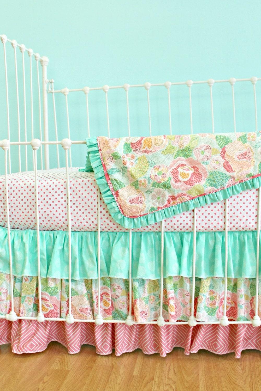 Bumperless Baby Girl Crib Bedding Set Mint By Lottiedababy