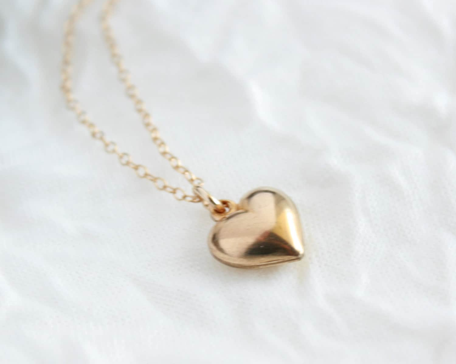 items similar to puff heart necklace gold heart necklace. Black Bedroom Furniture Sets. Home Design Ideas