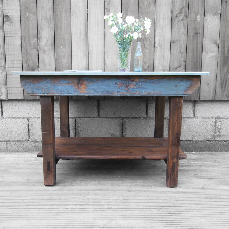 Industrial Kitchen Island Pine Wood 1940s Work Bench Table Sideboard