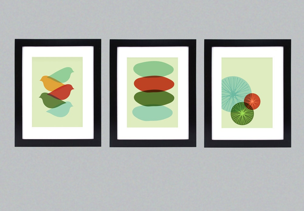 Mid Century Modern Bike, Bird, and Circle Wall Art Series/ Free Shipping