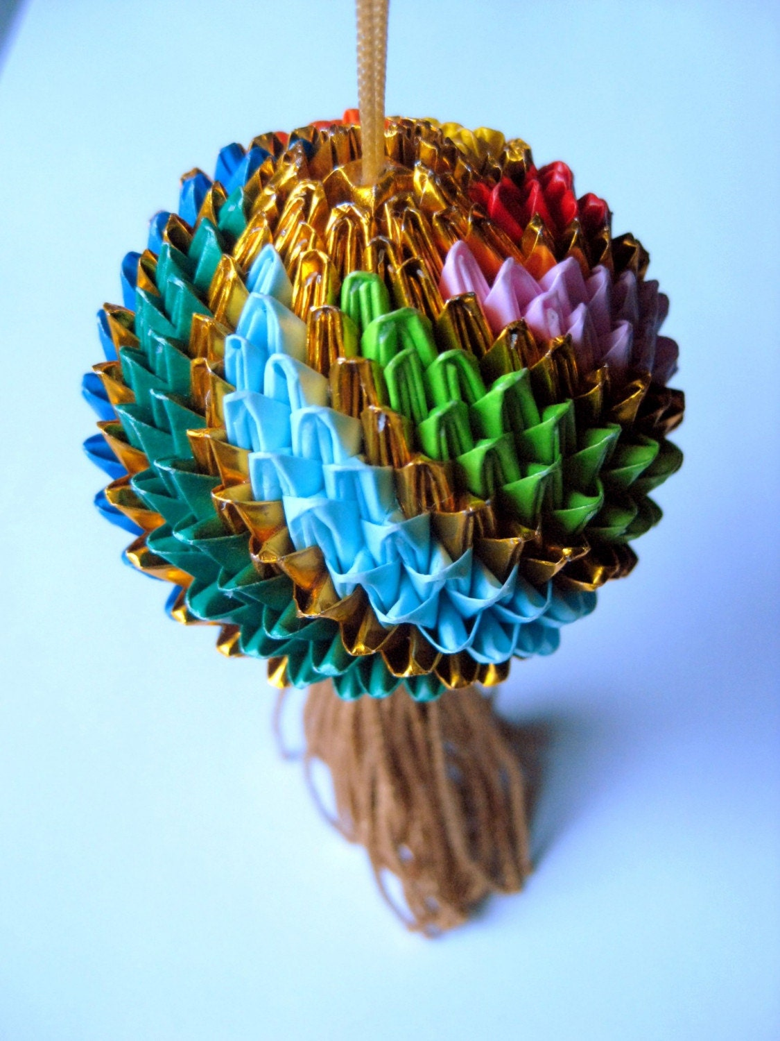 Multicolor Origami Temari Ball With Gold Tassel By Amskrafts
