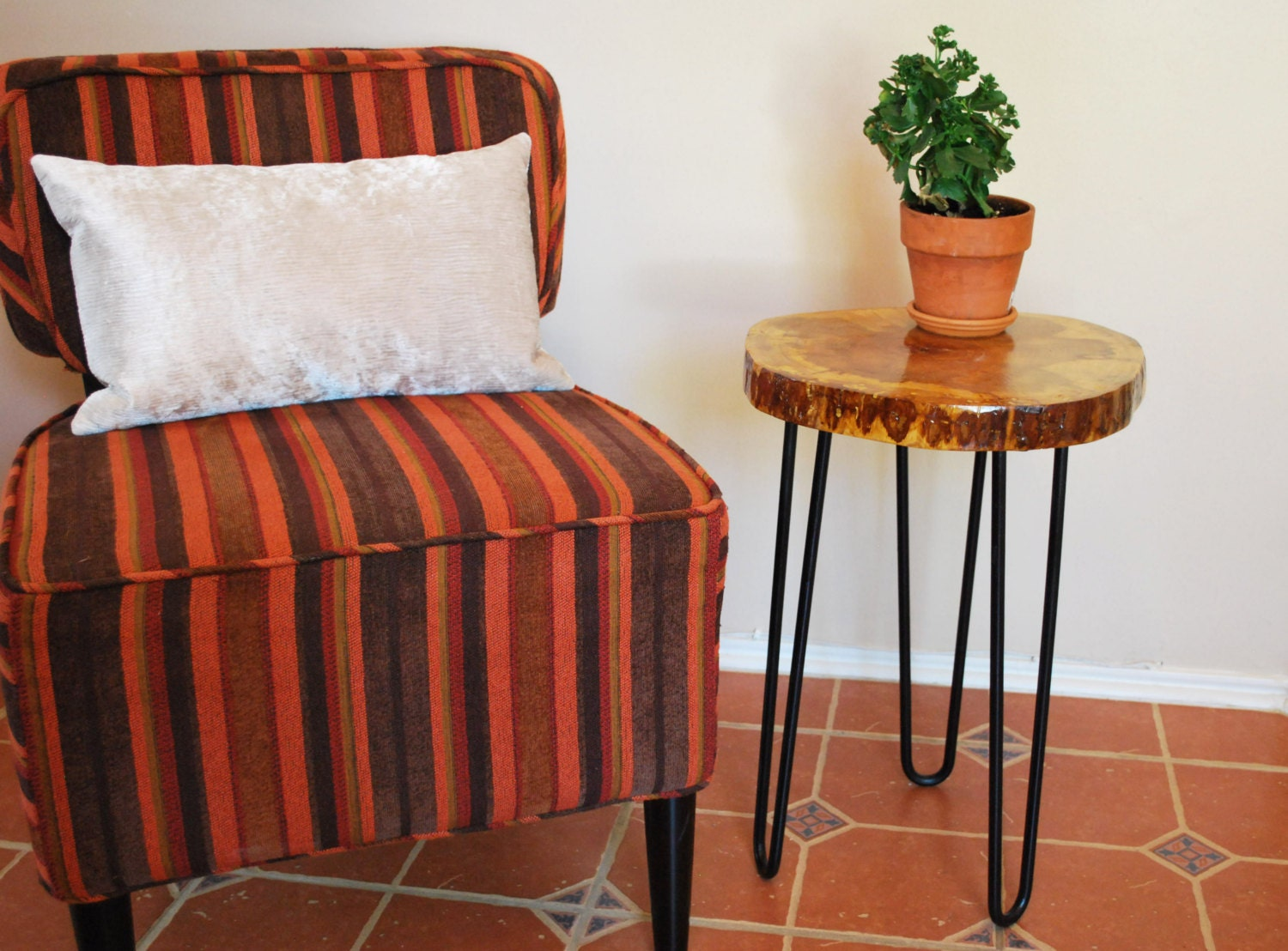 Hickory Wood Side Table Wood Slice Modern Furniture By Naturebound