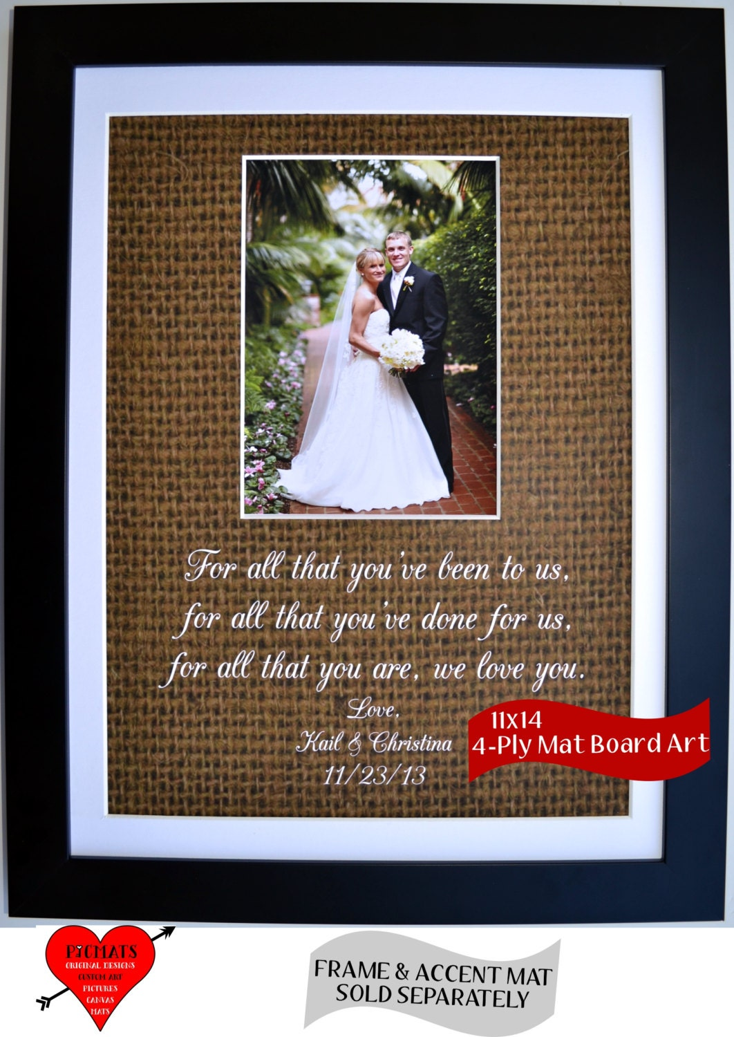 Unique Wedding Thank You Gifts For Parents : Custom Wedding Gifts To Parents: Personalized Thank You Parents of ...