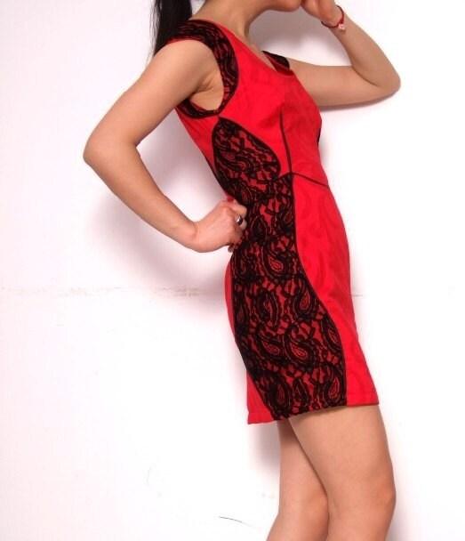 سیاه و سفید توری قرمز ژاکارد پنبه ساخته آستین درپوش کوتاه لباس Cheong-SAM Qipao