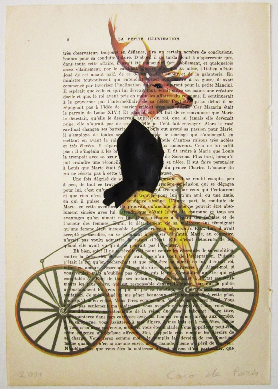 """Шикарный оленей в черном - Original ручная роспись ARTWORK Смещаная 'La Petit Иллюстрация """"1920 известный журнал Parisien"""