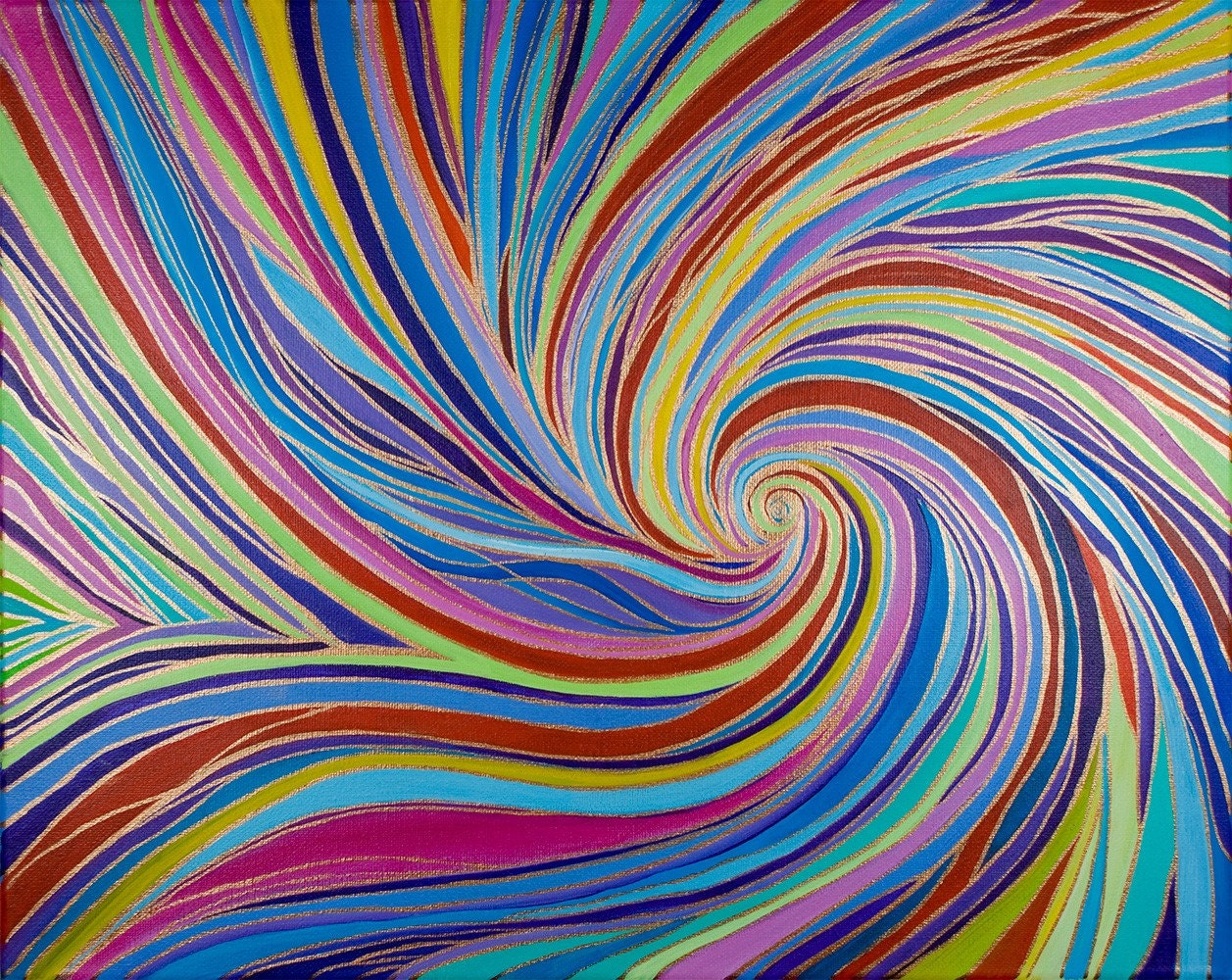 Abstract Original Acrylic Painting Swirls Ii By By Qiqigallery