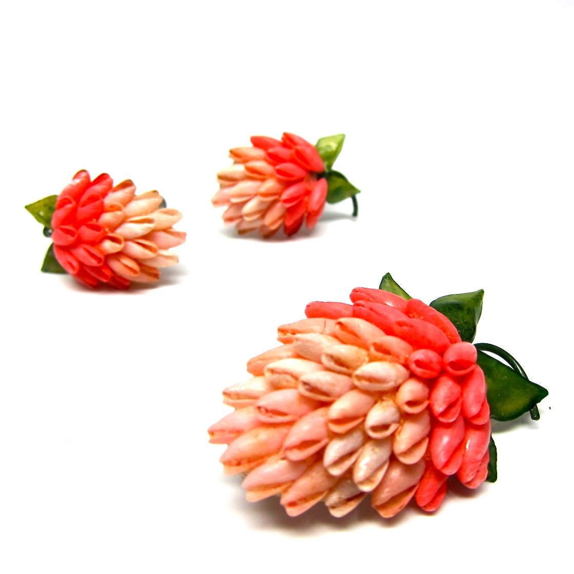Vintage Strawberry Earrings Sea Shells Pink Brooch Set - hensfeathers