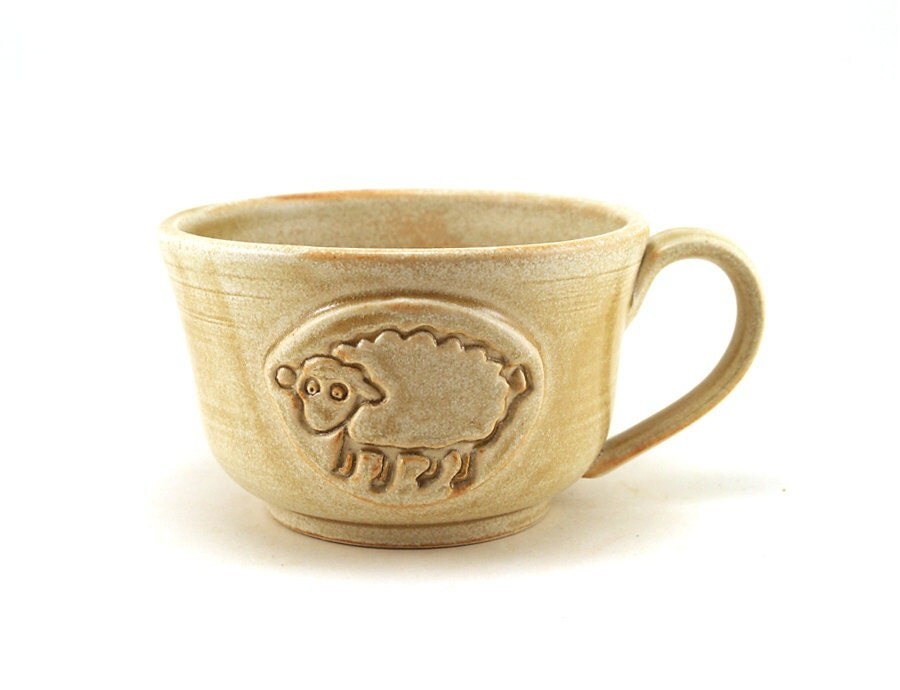 Ceramic Mug with a Sheep:  Large Cream Soup Bowl for Cafe au Lait, Unique Pottery Gift for Her, Unusual Gifts by MiriHardyPottery - MiriHardyPottery