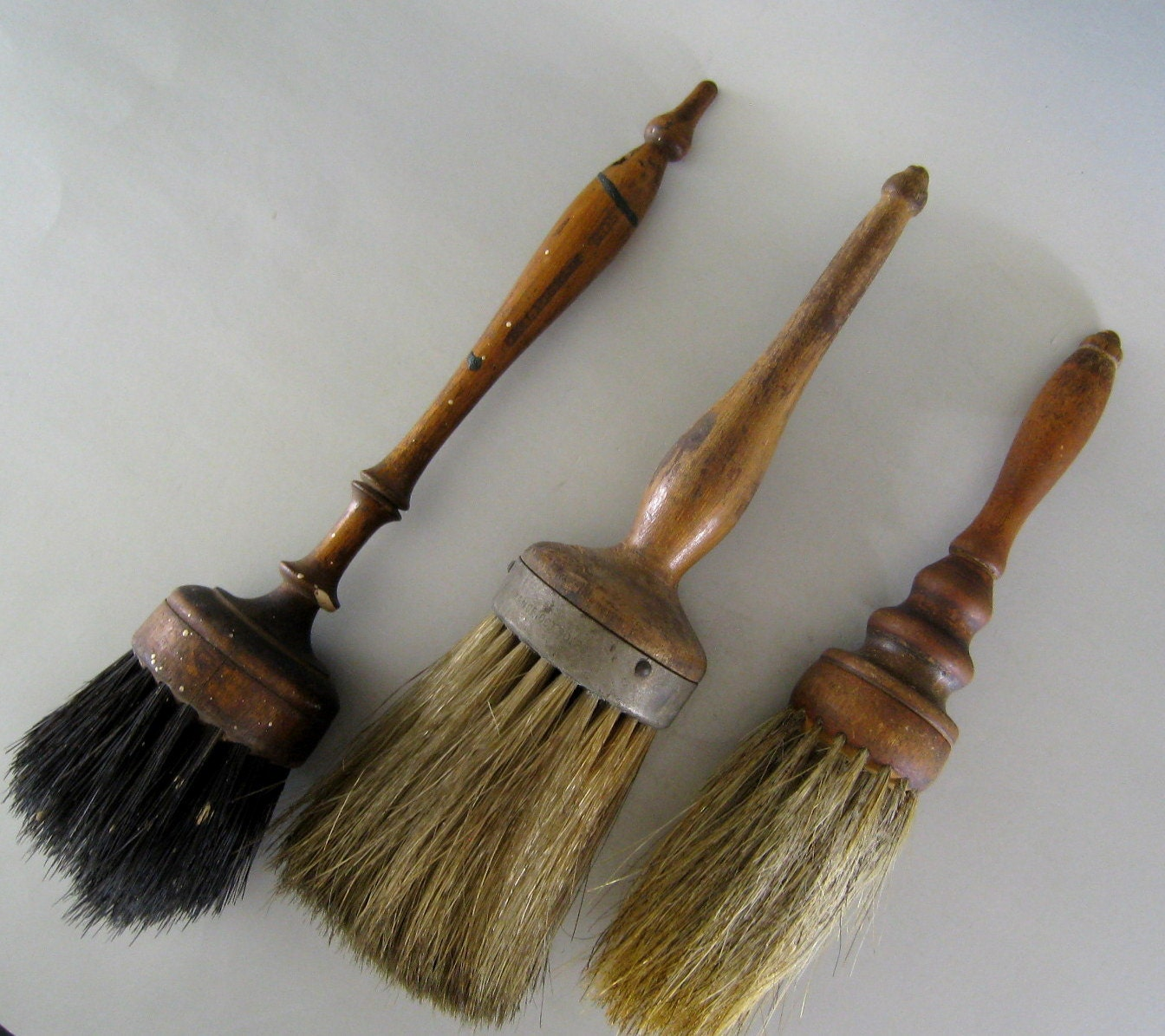3 Antique Horsehair Brushes C 1900 Turned Handle By Unfocused