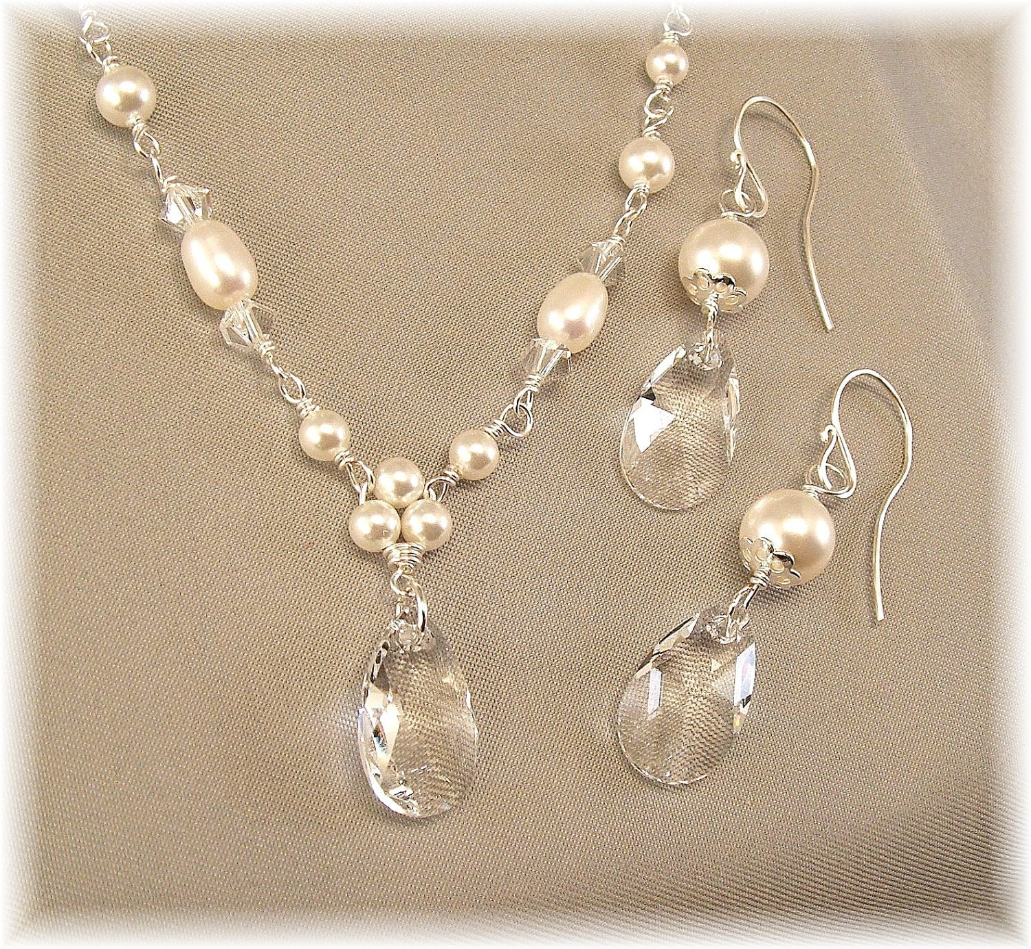 White Pearl and Crystal Necklace and Earring Set by Handwired from etsy.com
