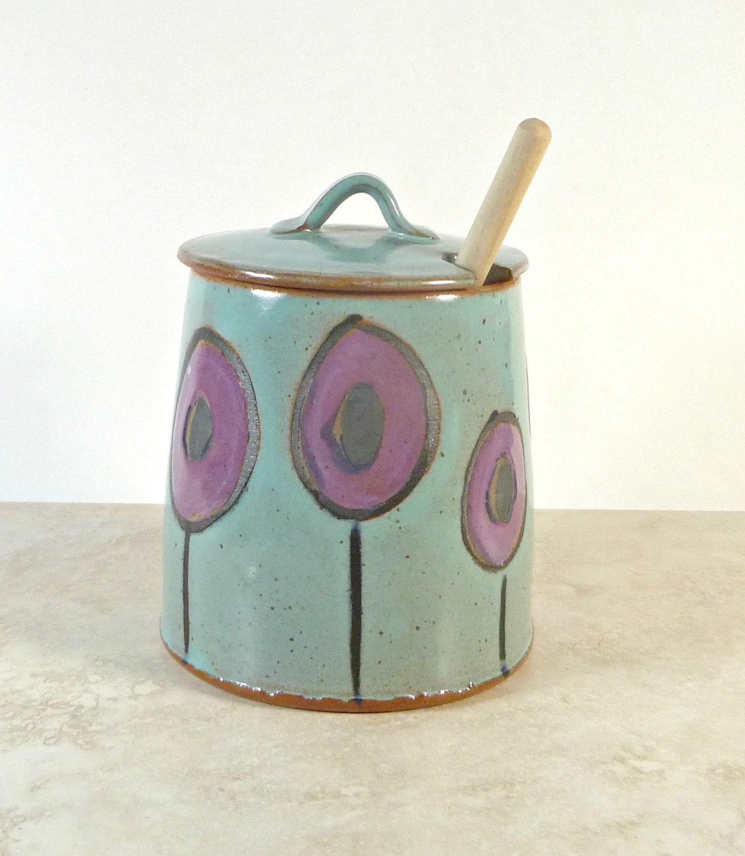 Red Poppy Stoneware Honey Pot