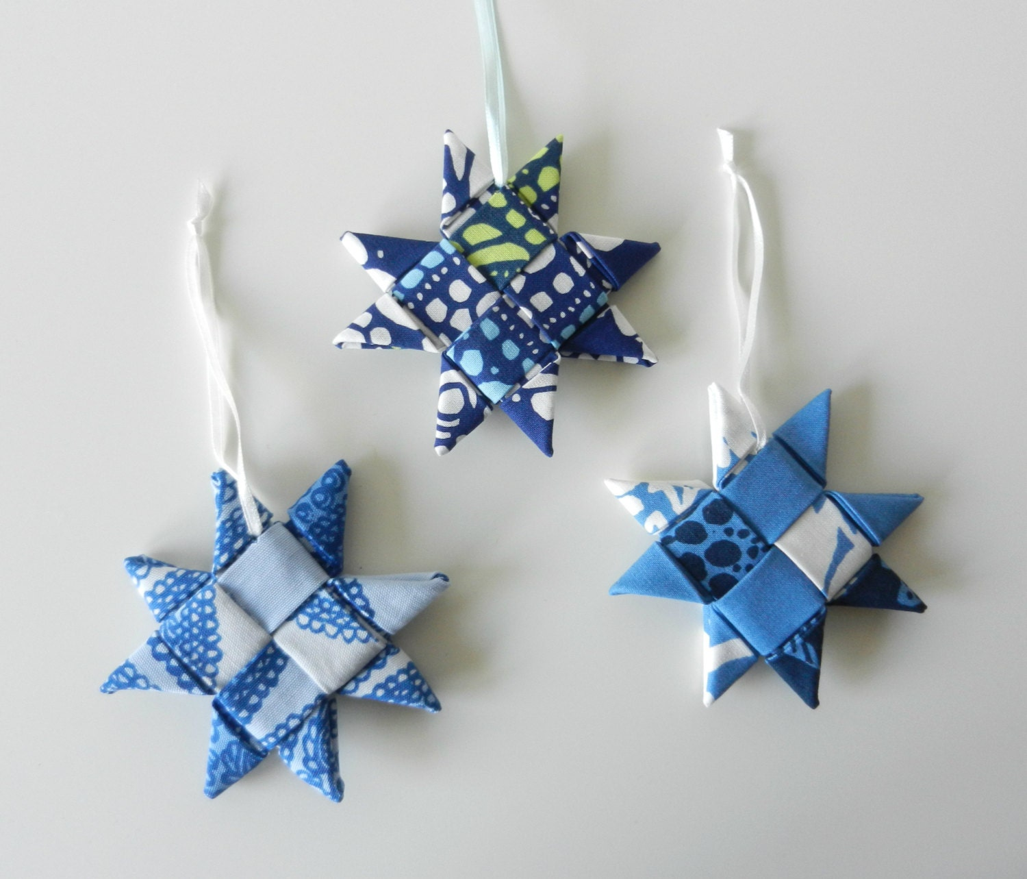 Christmas Ornament Folded Fabric Star Blue by hennihennidesign