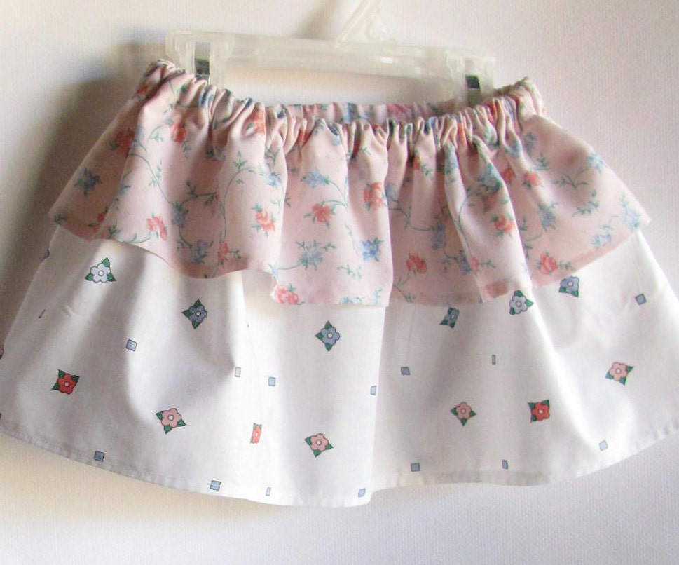 Baby Girl Skirt - 18 months - Pink and White Vintage Floral - SouthernTwistedBags
