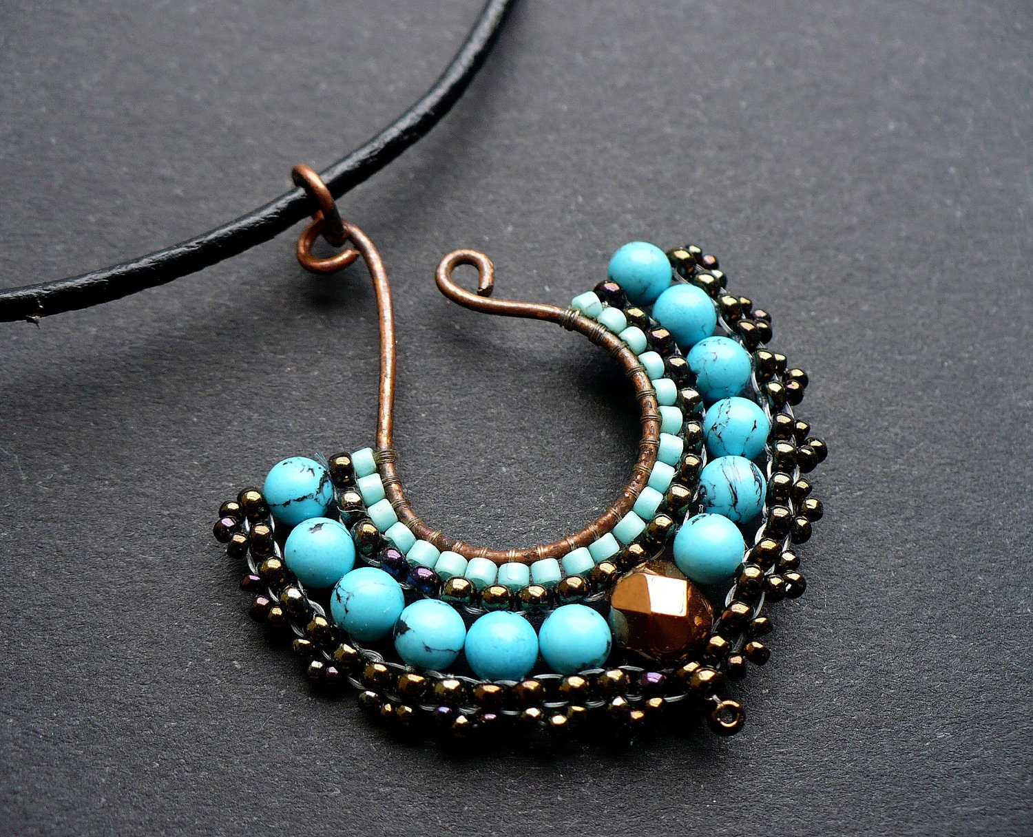 Beaded fan pendant, beadwoven on wire in turquoise and bronze, with gemstones MADE TO ORDER