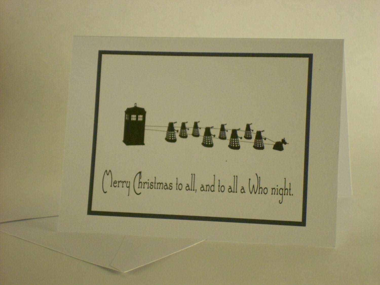 And To All A Who Night Doctor Who  Tardis Christmas Card - NinjaGreetingCompany