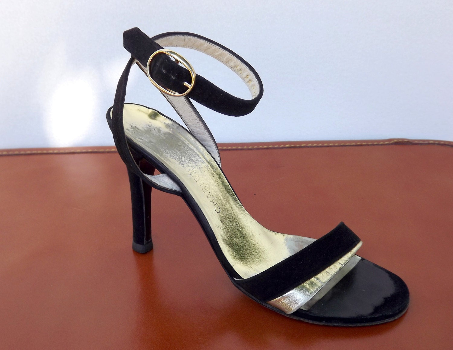 Sexy Spike Heel Shoes, Ankle Strap Sandals, Black and Gold, Designer Charles Jourdan, Size 6.5 AA Narrow - ForsythiaHill