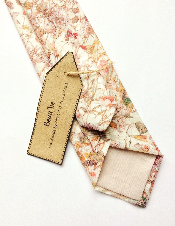 Floral tie Mens skinny tie blush pink tie wedding tie Liberty print skinny tie wild flower print mens floral tie pink skinny tie