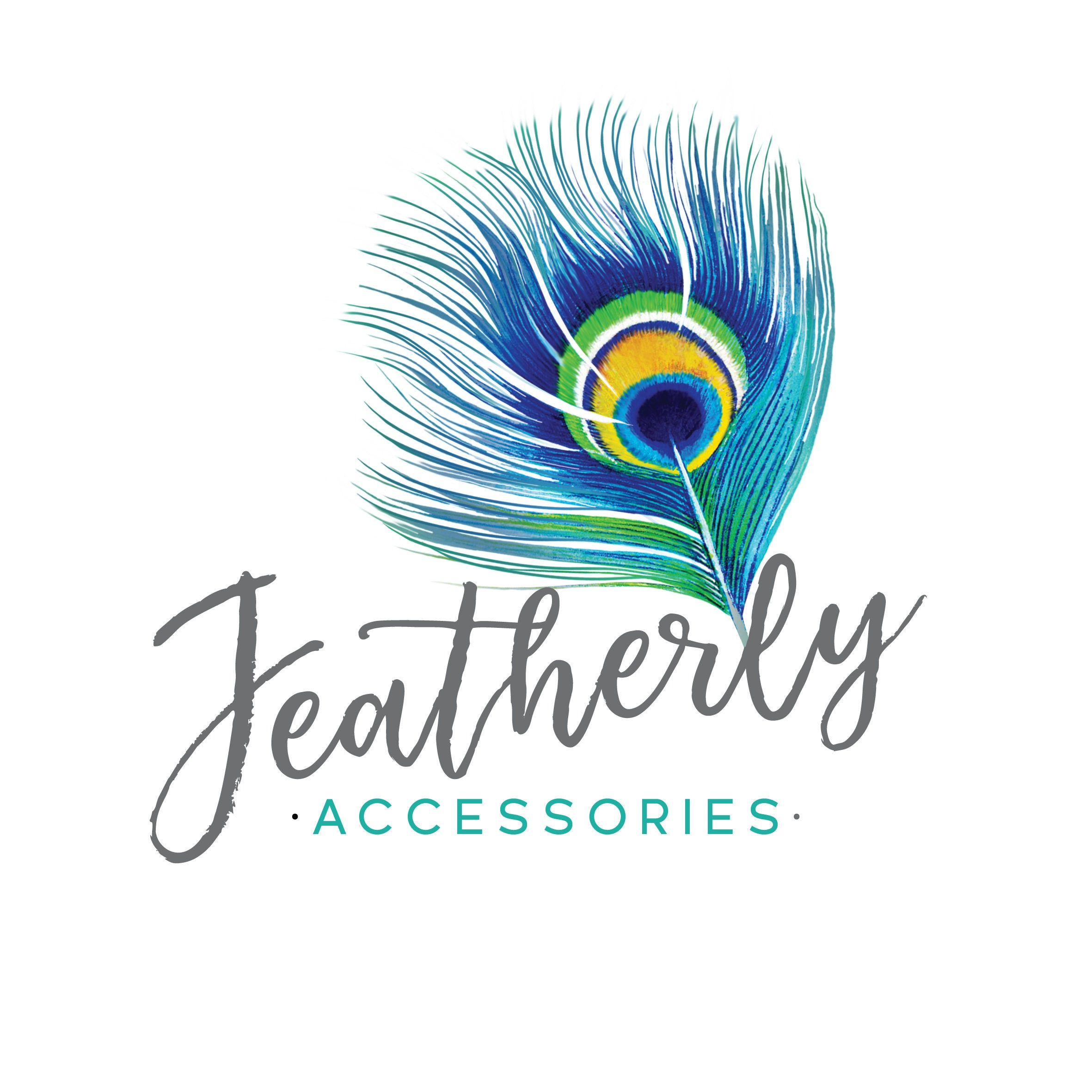 Watercolor gold peacock feather logo design  Salon Logo
