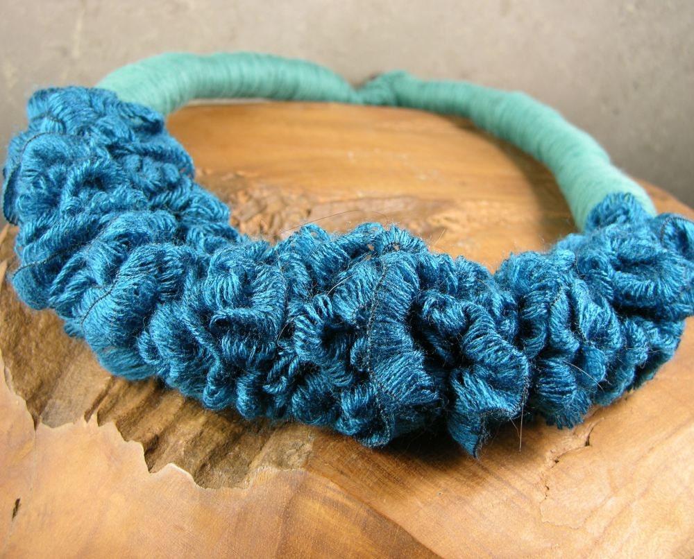 ожерелье шарф - нагрудник ожерелье - тощий шарф - scarflette - этнические - текстильные ожерелье - чирок синий текстиль многократно использовать
