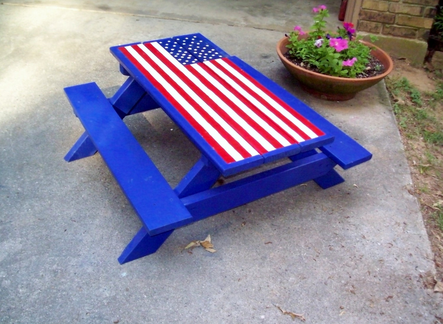 Hand Painted Picnic Table American Flag Child Size By