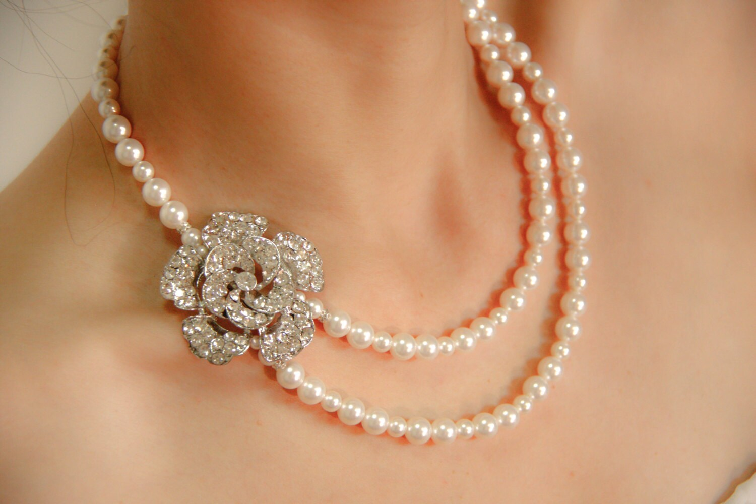 Bridal Pearl Wedding Jewelry Necklace, Vintage Style Classic Wedding Crystal With Swarovski  Pearls Necklace- Camellia - CupidsBijoux