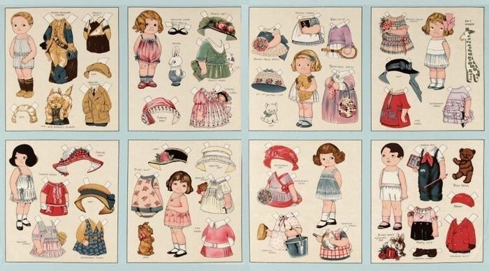 A Wonderful Aunt Lindy's Paper Doll Fabric Panel Free US Shipping - CountryCharmFabrics