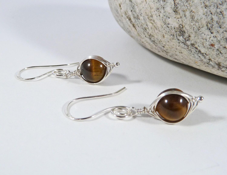 Tiger Eye Earrings Gemstone Earrings Sterling Silver Brown Gift for Her Wife Gift Birthday Gift Herringbone Weave Wirework Earrings