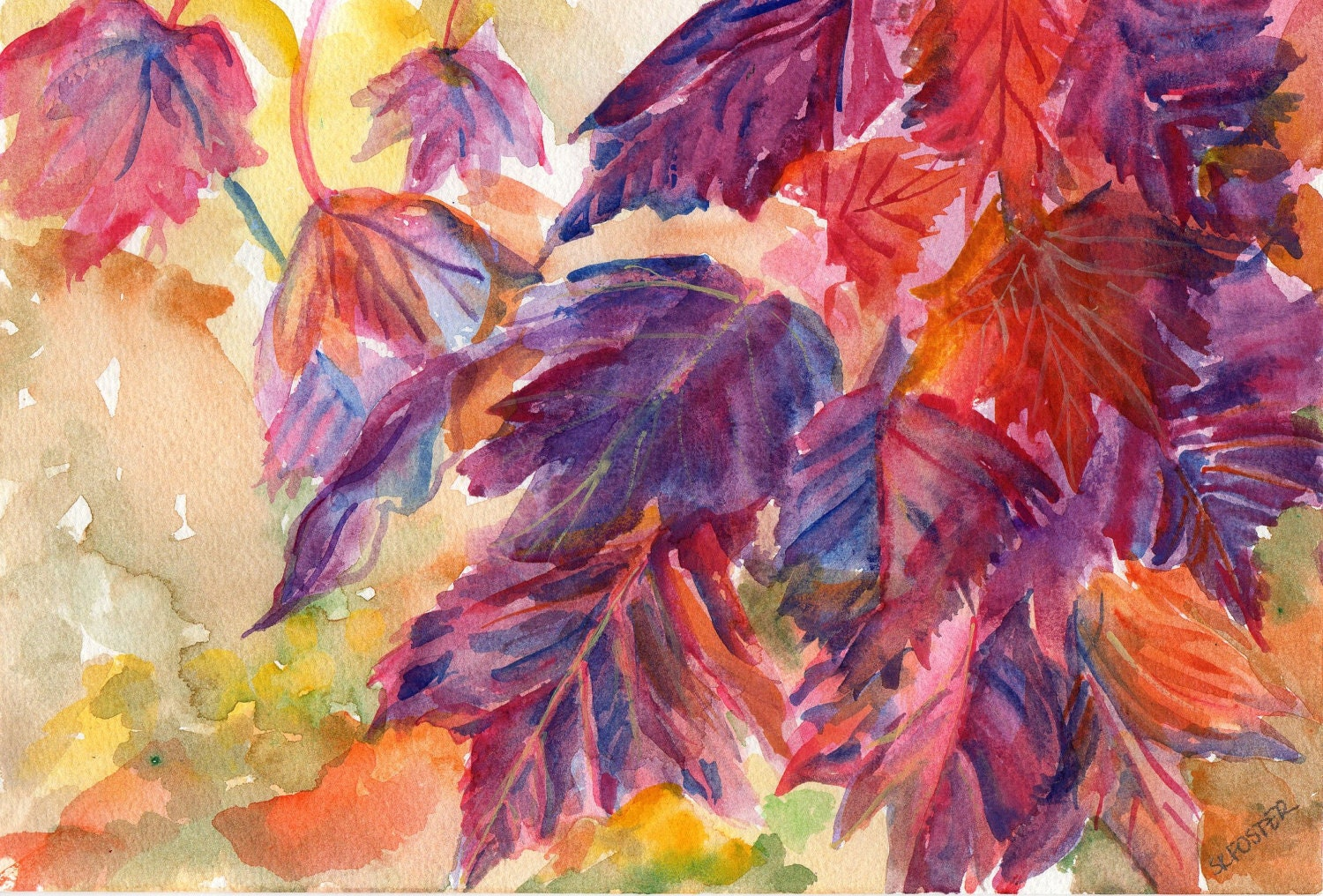 Original Autumn Leaves Watercolor Painting by SharonFosterArt
