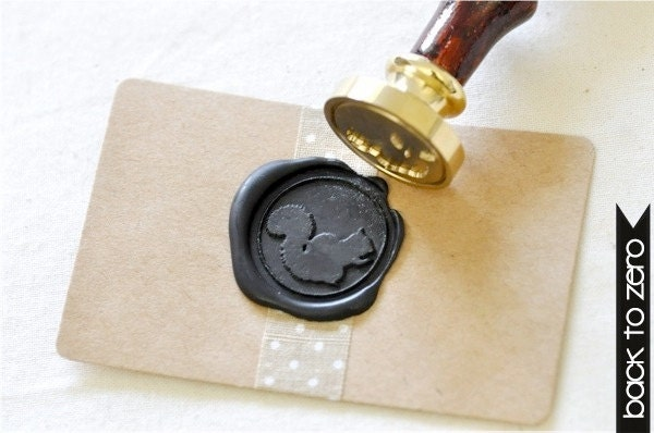 Squirrel Gold Plated Wax Seal Stamp x 1 - BacktoZero