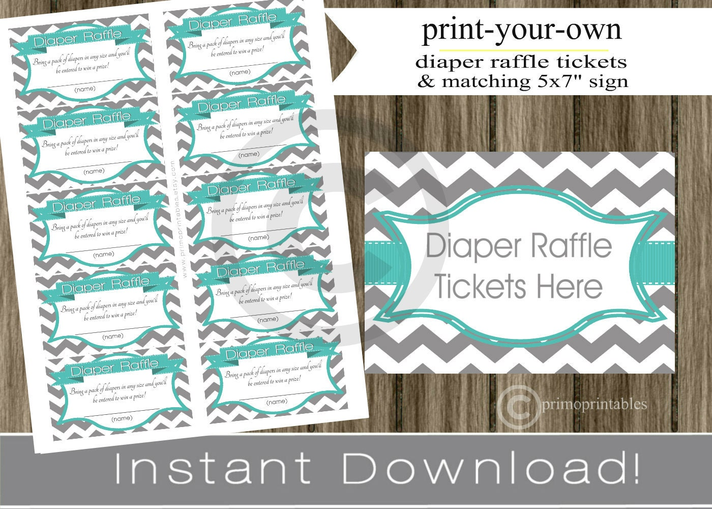 Baby Shower Diaper Raffle Tickets with matching sign teal and gray ...