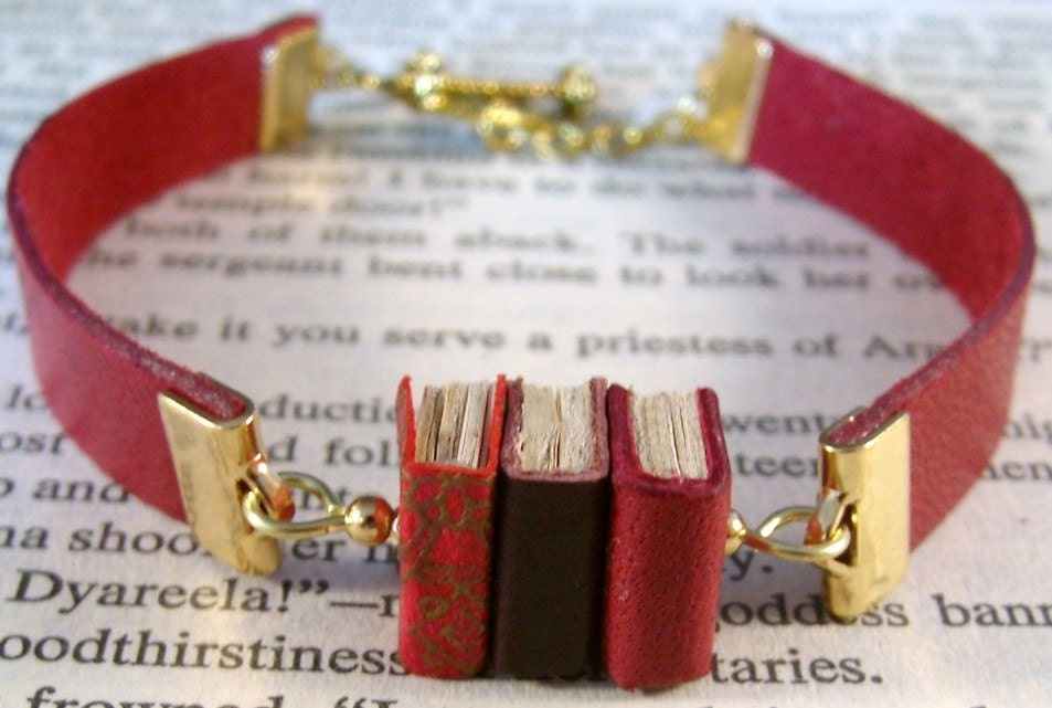 Miniature Book Bracelet Stack of 3 Mini Books and Leather Bracelet Red Gold