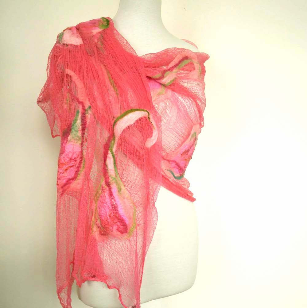 Womens Pink Cotton Scarf. Large Scarves. Pink Coral - sesenarts