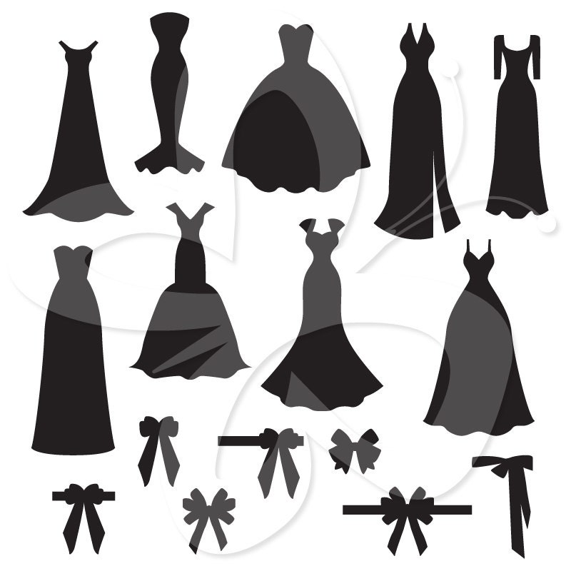 Wedding Dress And Bow Silhouettes Digital By