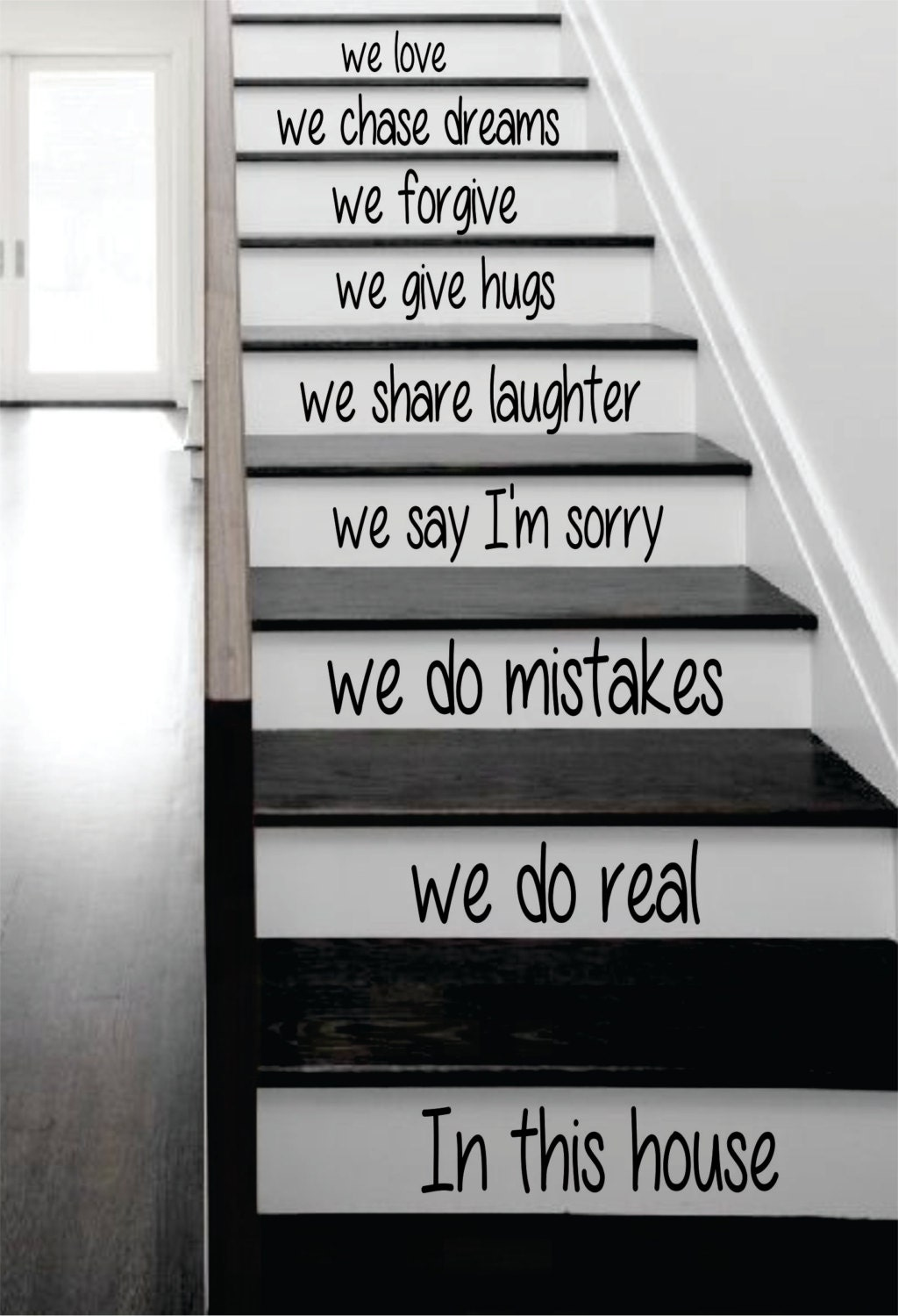 in this house stairs decal sticker wall vinyl art by boopdecals. Black Bedroom Furniture Sets. Home Design Ideas