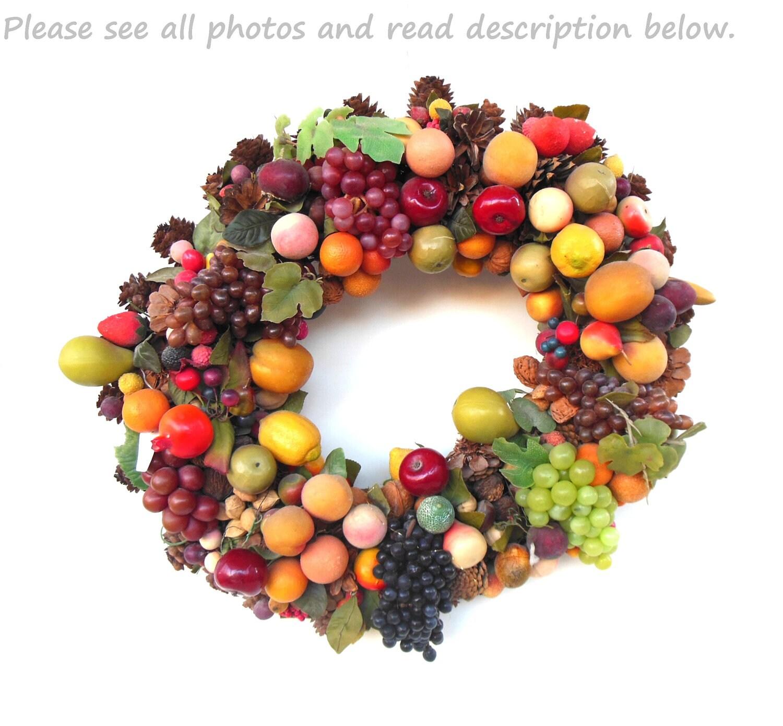 Vintage fake fruit wreath christmas decoration by lauraslastditch