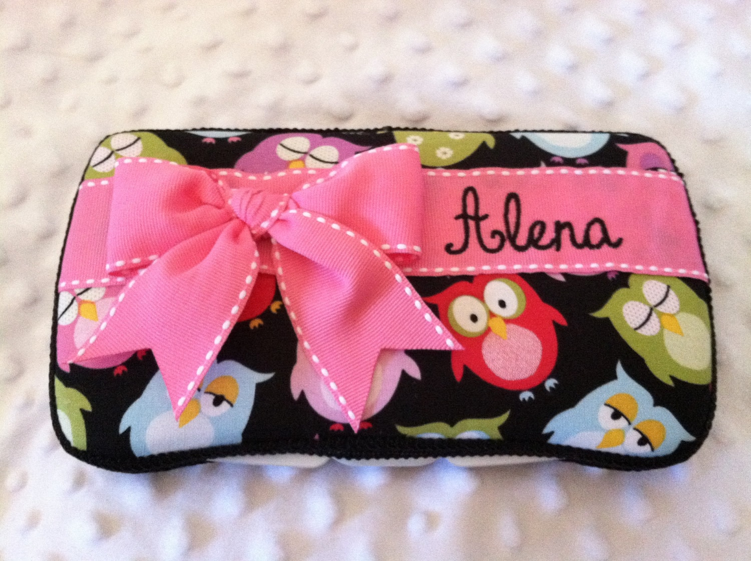 Custom Sleepy Time Owls with a Bow and Name Embroidered Boutique Diaper Wipes Case