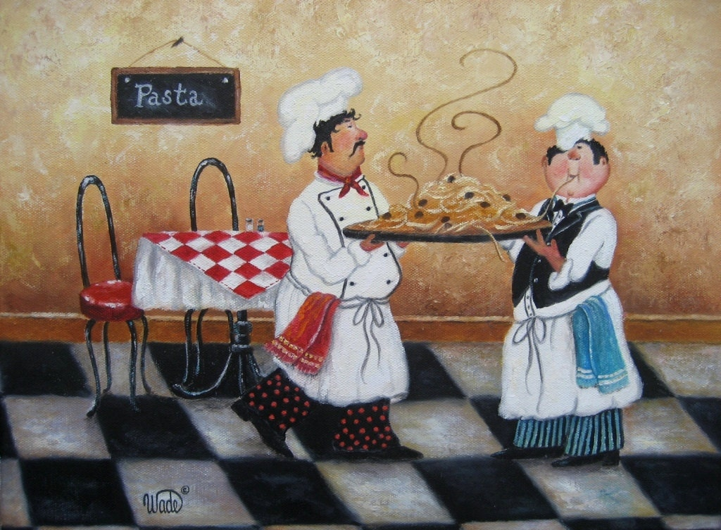 Pasta Chefs Art Print Fat Chefs Chef By Vickiewadefineart