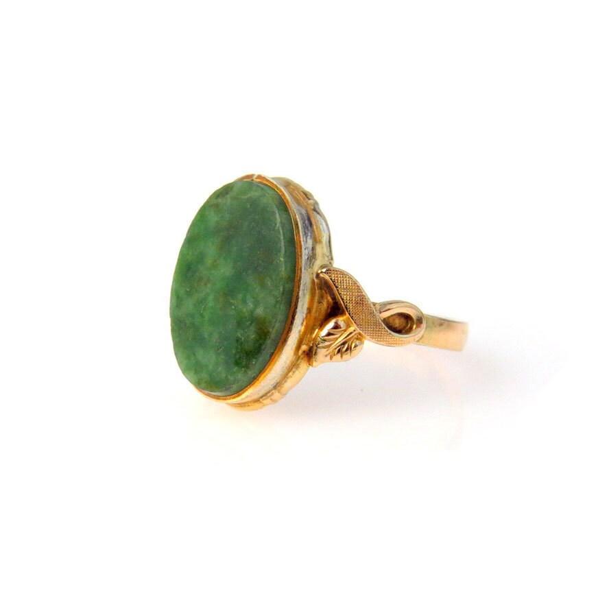 Vintage Connemara Marble Gold Fill Ring Size   By Bijouxbela
