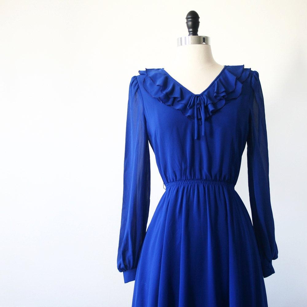 Vintage Dress Japanese S// 70s Dress// Cobalt Layered Blue Dress// Prairie Dress Japan - StandardVintage