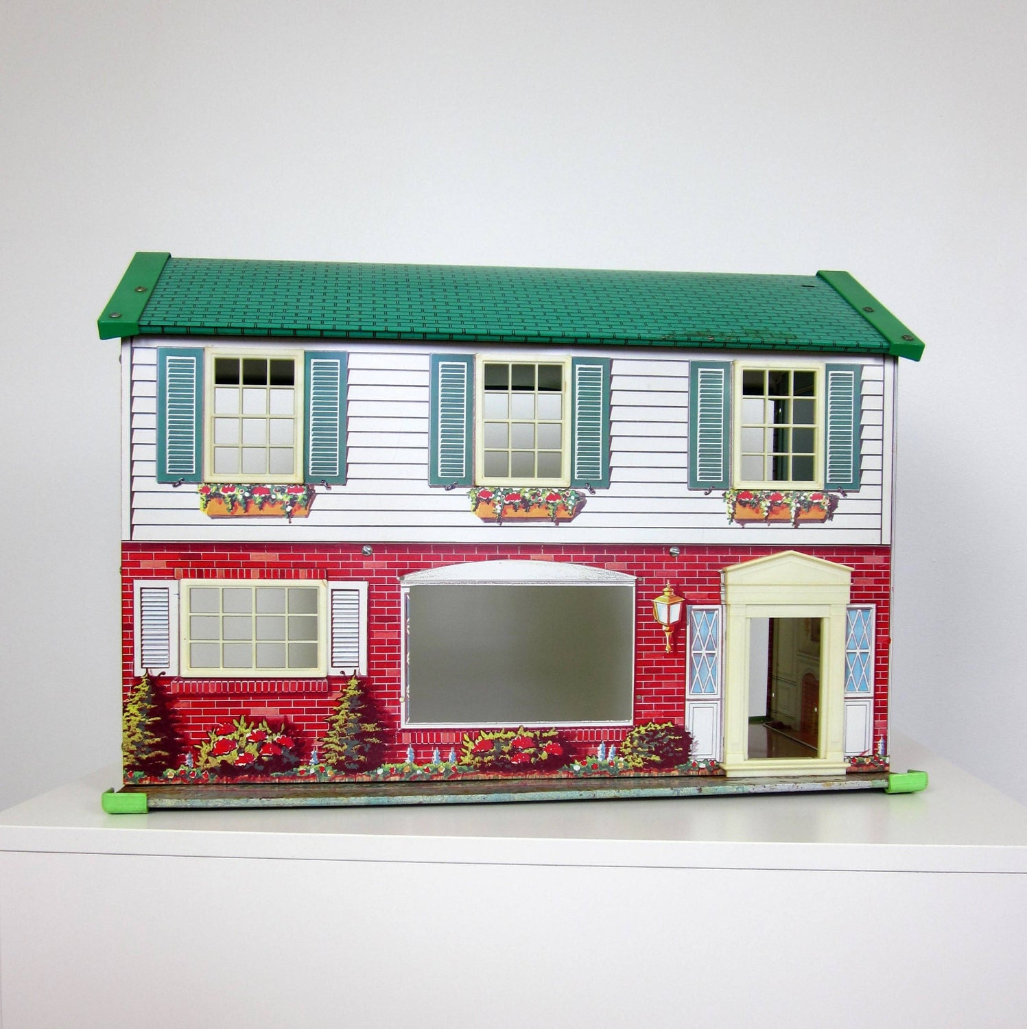 Wolverine Tin Litho Dollhouse 50s / Two Story Colonial - OopseeDaisies