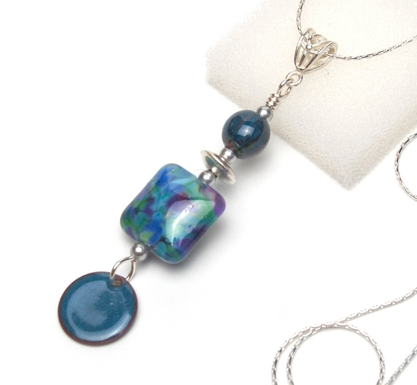 Blue Green and Violet Pendant Necklace - Artisan Lampwork Glass and Enameled Beads on Silver Plated Chain - lilicharms