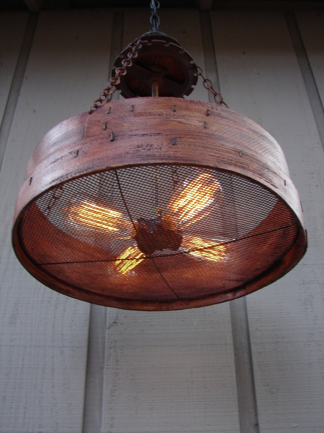 Rustic Hanging Light Upcycled Vintage Farm Sieve By