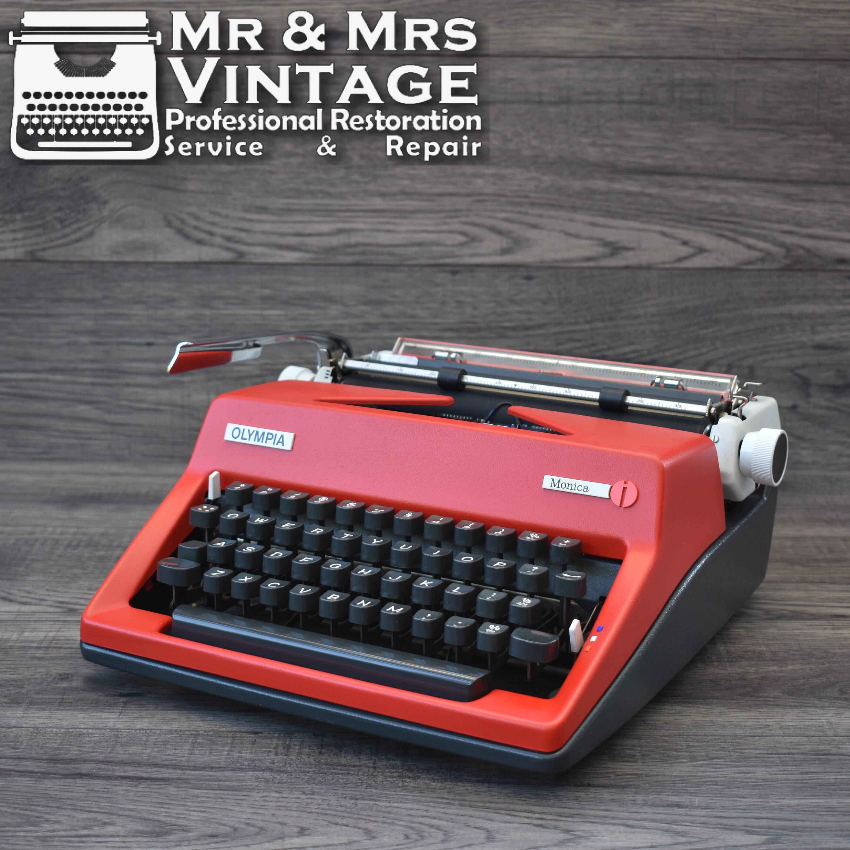 Serviced Olympia SM8 MONICA Typewriter Red  White Working Black Ribbon Vintage