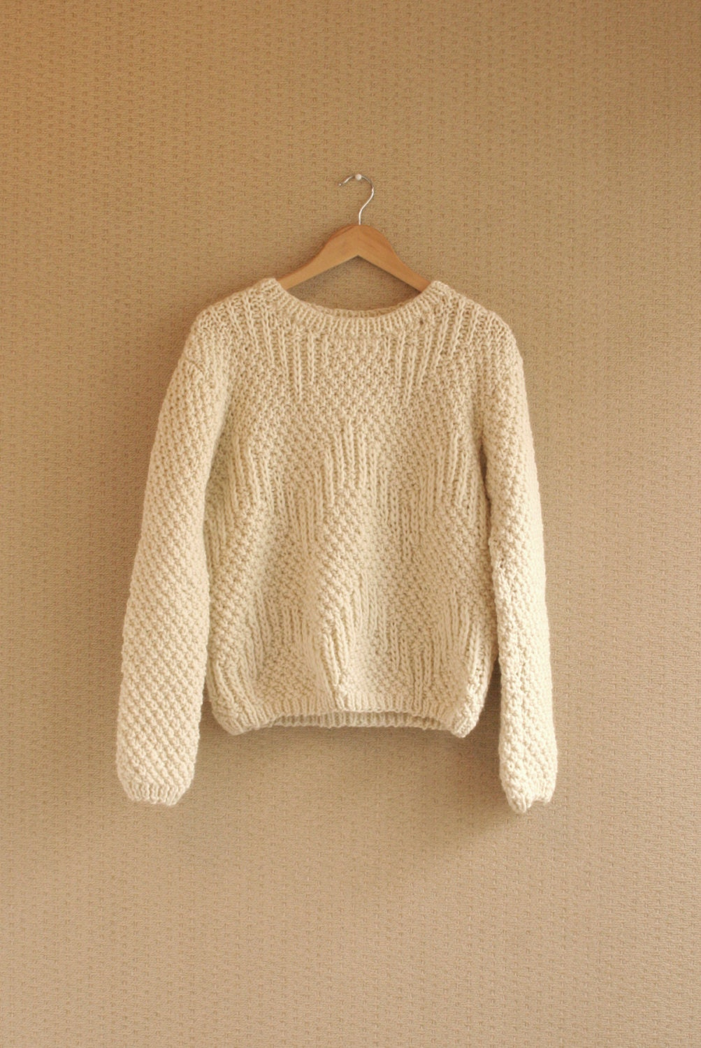 CUSTOM Listing For Carolyn Slouchy Natural / Ivory Hand by ...