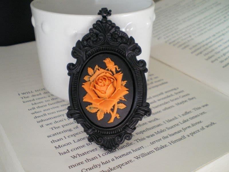 Rose Necklace. Halloween. Gothic Jewelry. Orange. Black.