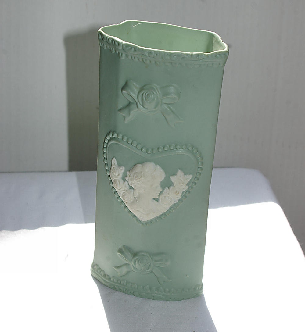 Parian Ware Mint Green and Cream Vase Heart Motif Heart Vase Mint Green Vase Wall Pocket Vase Pottery Wall Pocket Portrait Vase Jasperware - KickassStyle