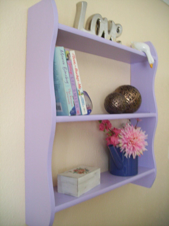 70cm H x 64cm W Pine Purple Shelves Kitchen Bathroom Bedroom Shelves Bookcase.